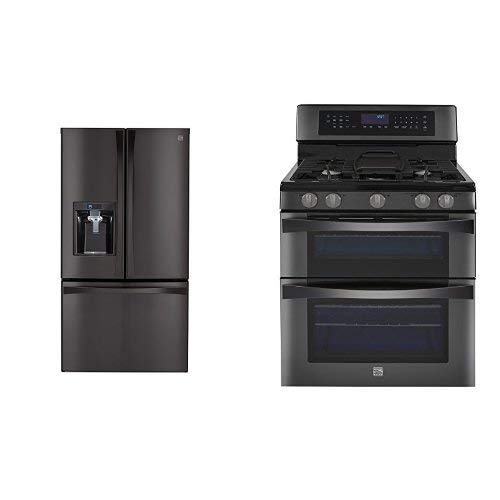Kenmore Elite 28.7 cu. ft. French Door Bottom Freezer Refrigerator and Kenmore Elite  6.1 cu. ft. Double Oven Gas Range w|Convection Cooking bundle, both in Black Stainless, includes delivery and hookup