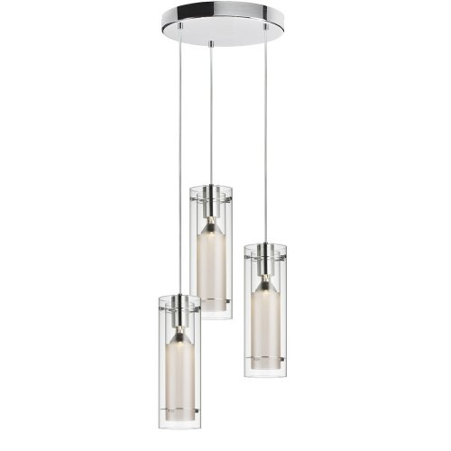 Dainolite 12153R-CF-PC 3-Light Pendant-Round Canopy, Clear Glass/Frosted Insert, Polished Chrome For Sale