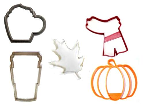 PUMPKIN SPICE FALL SEASON HALLOWEEN THEME COFFEE TRAVEL TO GO CUP MUG LEAF SCARF SET OF 5 SPECIAL OCCASION COOKIE CUTTER BAKING TOOL 3D PRINTED MADE IN USA PR1246]()