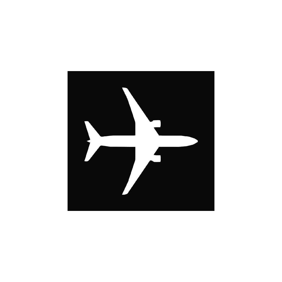 Airplane Silhouette Boeing 767 Die Cut Decal Vinyl Sticker   5.5 White