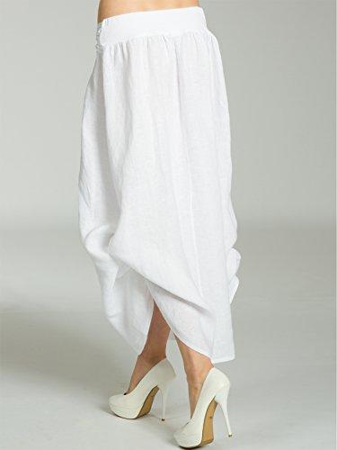 femme Blanc jupe lin lgre en longue RO016 pour la CASPAR taille ceinture Jupe avec drape Jupe Maxi d't fwC0UBHq