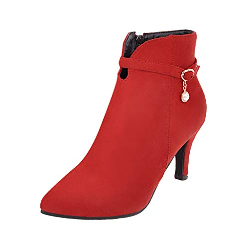 Women's Zipper High Heel Bootie Solid Color Pearl Belt Buckle Ankle Boots Ladies Pointed Suede Stiletto Short - Dress Phat Baby Womens