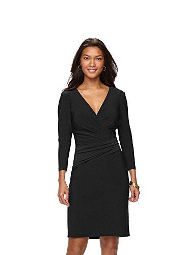 Chaps Women's Solid Surplice Sheath Dress, Black (Chaps Womens Dress)