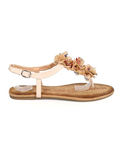 Dbdk Eb30 Vrouwen Bloem Chiffon T-strap Slingback String Sandaal Naakt