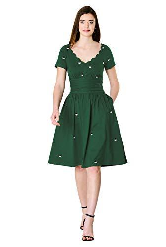 Embellished Drop Waist Dress - eShakti FX Polka dot Embellished Cotton Knit Pleat Waist Dress Bottle Green/Black/White