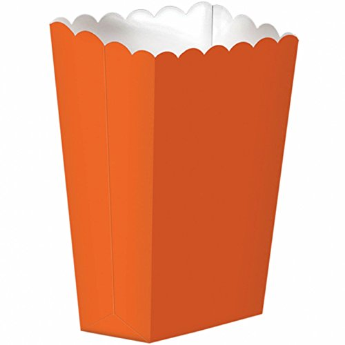 amscan Party Ready Large Popcorn Favour Box, Orange Peel, Paper, 7