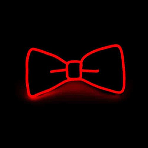 Luminous Bow Tie, Novelty Party Light Up Adjustable EL Wire Bow Tie with Switch -