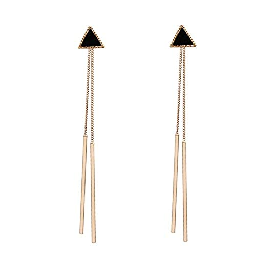 cheap QTALKIE Silver Plated Long Tassel Drop Triangle Tassel Earrings Jewelry,Wear Alone