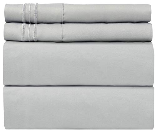 Full Size Sheet Set - 4 Piece Set - Hotel Luxury Bed Sheets - Extra Soft - Deep Pockets - Easy Fit - Breathable & Cooling - Wrinkle Free - Comfy - Light Grey Bed Sheets - Fulls Sheets - 4 PC