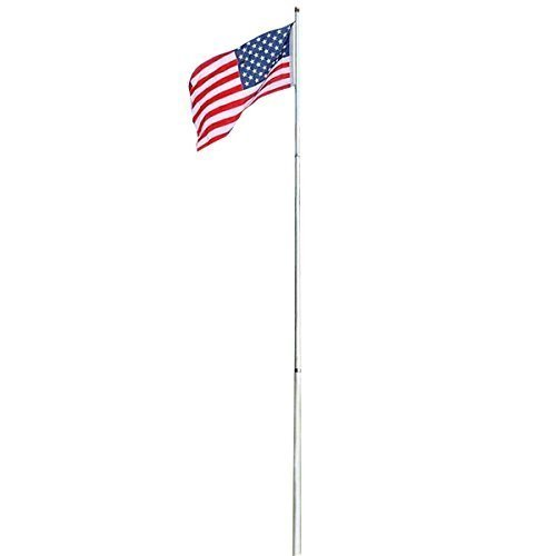 (Tangkula American Flag Pole Kit for Ground Outdoor USA Telescoping Flag Pole Commercial Grade Aluminum Sectional Flagpole with Golden Top Ball Backyard Garden Flag Pole(16ft))