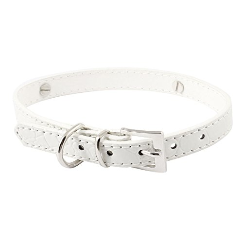 Pet Dog Faux Leather Single Prong Buckle Adjustable Belt Collar White S (White Collar Dog Collars)