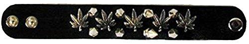 12 Pc Double Row Spiked Pot Leaf Leather Wrist Band Bracelet