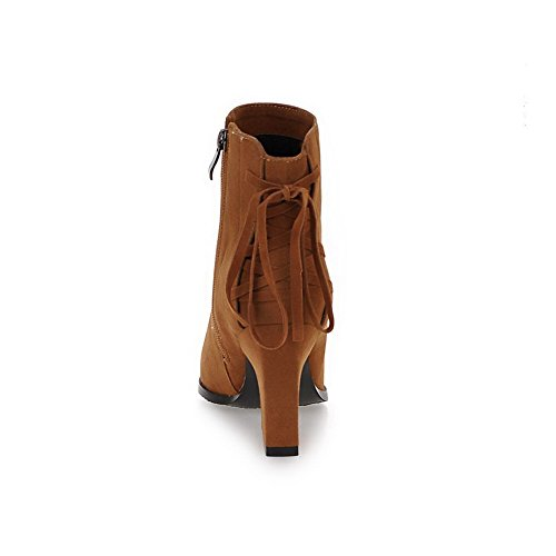 Heels Pointed High Allhqfashion Zipper Solid Toe Women's Suede Brown Imitated Closed Boots qtqIHRw