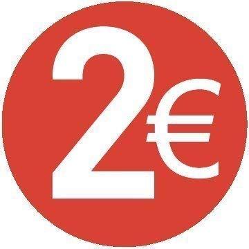 Pack de 200-13mm Rouge Prix Autocollants 2/€ Euro