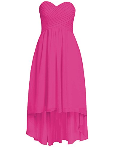 Chiffon Dresses Ruffled Low Bridesmaid Fuchsia Short Cdress Wedding Gowns Party Formal High SaxRnwSqd