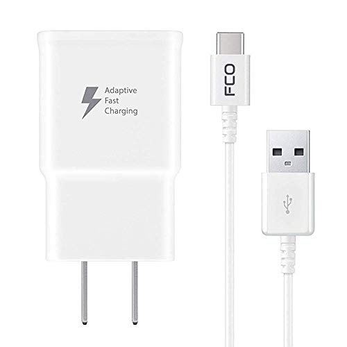 FCO Adaptive Fast Charger Compatible with ZTE MAX Duo 4G LTE [Wall Charger + Type-C USB Cable] Dual voltages for up to 60% Faster Charging! ()