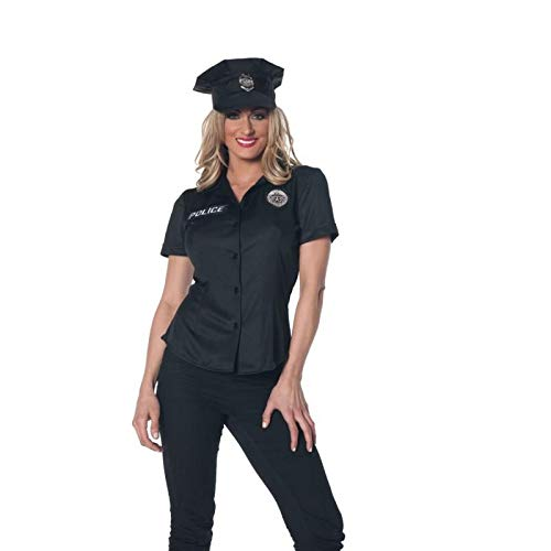Underwraps Women's Police Fitted Shirt, Black, Large ()