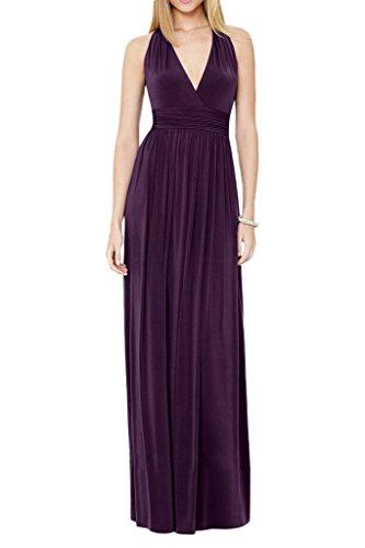 Milano Bride Anmutig Damen Abendkleid Fetliche Kleider V-Ausschnitt A-Linie Lang