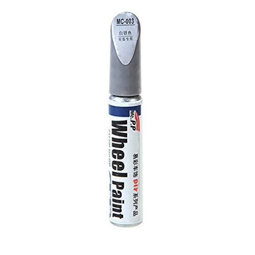 TLT Retail Car Wheel Scratch Repair Touch Up Pen Aluminum Alloy White Touch Up Paint - Non-toxic, Permanent, Water Resistant Car Scratch Repair Pen