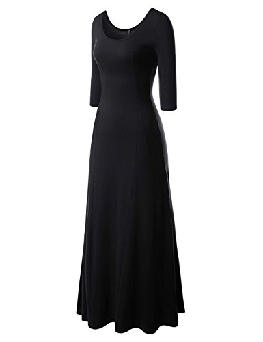 NEARKIN (NKNKW5LD652) Beloved Womens Scoop Neck Slim Cut Stretchy Maxi Dress BLACK US XL(Tag size 2XL) (Black Maxi Dress For Tall Women)