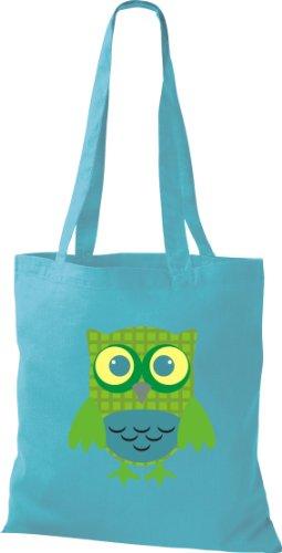 Stoffbeutel Bunte Eule niedliche Tragetasche mit Punkte Karos streifen Owl Retro diverse Farbe hellblau Lgl7FAuA