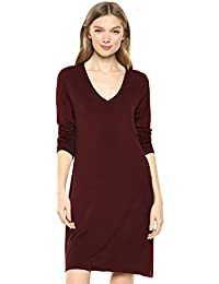 Amazon Brand - Daily Ritual Women's Jersey Long-Sleeve V-Neck T-Shirt Dress