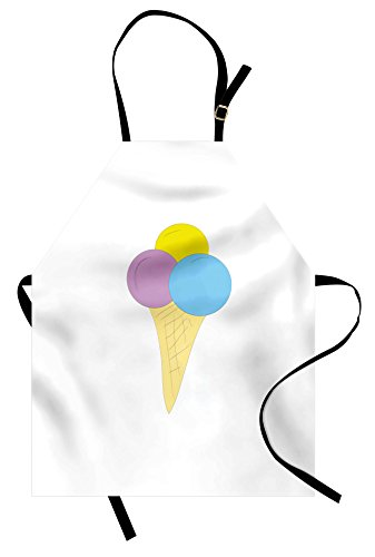 Lunarable Ice Cream Apron, Vivid Illustration of a Waffle Cone with Three Scoops of Ice Cream, Unisex Kitchen Bib Apron with Adjustable Neck for Cooking Baking Gardening, Yellow Pale Blue Lilac