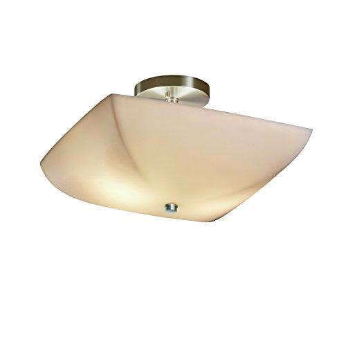Justice Design Group Porcelina 2-Light Semi-Flush - Brushed Nickel Finish with Smooth Faux Porcelain Resin Shade