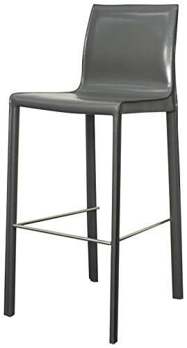New Pacific Direct Gervin Recycled Leather Bar Stool,Anthracite Legs,Anthracite Gray,Set of ()