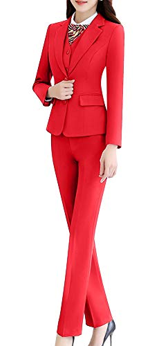 Women Three Pieces Blazers Solid Single Breasted Office Lady Blazer Jacket,Vest and Pant/Skirt
