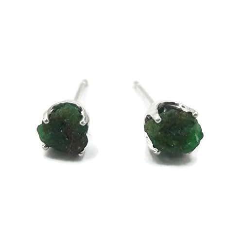 Amazon Com Sterling Silver Raw Emerald Stud Earrings