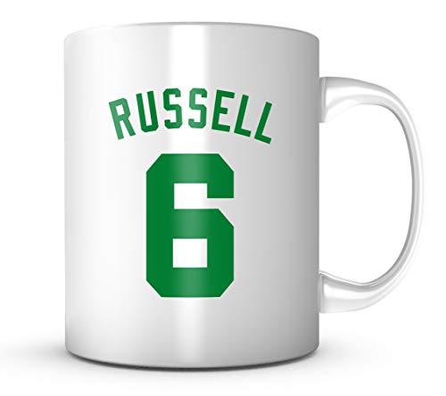 - Bill Russell #6 Mug - Jersey Number Green/White Coffee Cup
