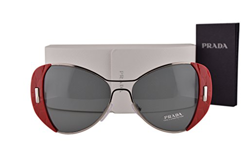 Prada PR60SS Sunglasses Silver Red w/Dark Gray Lens SMN9K1 - Round Oversized Prada Sunglasses