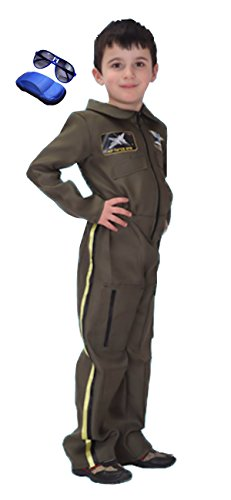 Air Force Pilot Costume (Cohaco Kid's Astronaut Air Force Flight Suit Role Play Costume with Glasses (Medium, Air Force Pilot))