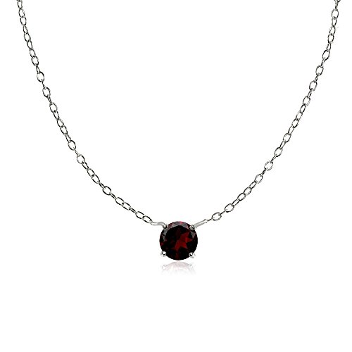 Sterling Silver Small Dainty Round Garnet Choker Necklace Chokers Garnet Pendants