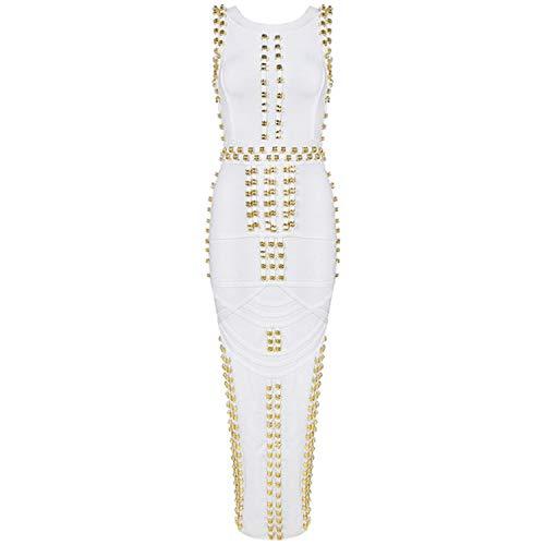 Thankstop dress 2018 Celebrity Kim Kardashian Dress Sleeveless Beaded Bandage Dress Long,White,M