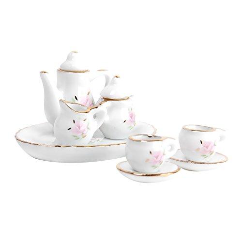 8pcs Dollhouse Miniature Dining Ware Porcelain Tea Set Floral Print
