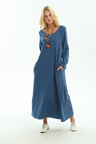 Dress Long Blue sleeved Plus Summer Spring Dress amp;cotton F148A Anysize Linen Dark Size wYHx7dfdq