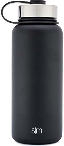 Simple Modern 32 oz Summit Water Bottle - Stainless Steel Hydro Swell Flask +2 Lids - Wide Mouth Metal Double Wall Vacuum Insulated A Midnight Black Reusable Aluminum 1 Liter Cold Leak Proof - Black by Simple Modern (Image #3)