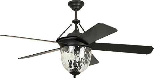 Craftmade Outdoor Ceiling Fan with Light CAV52ABZ5LK Cavalier 52 Inch Patio with Remote, Aged Bronze