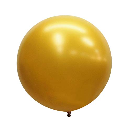 Neo LOONS 36 Inch Giant Latex Balloons, Pearl Gold Round Balloons for Birthdays Weddings Receptions Festival Party Decoration, Pack of 10 Pcs