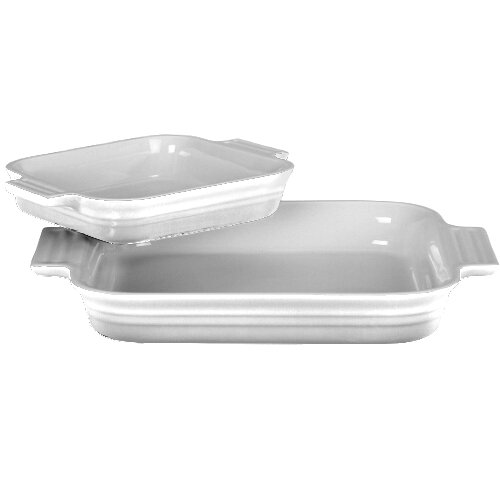 Le Creuset Stoneware 1-1/4-Quart Rectangular Baker with Bonus 16-Ounce Rectangular Baker, White