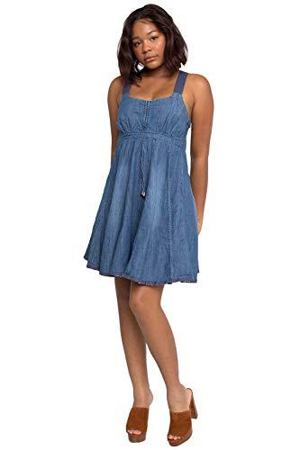 Sweet Vibes Junior Womens Denim Dress A-Line Racerback Stretch Empire Waist Size XL Blue
