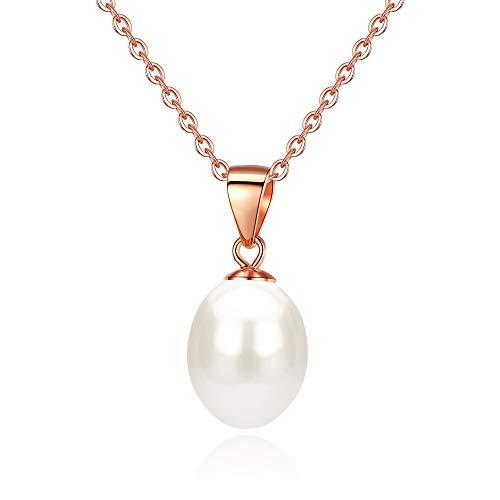 Rose Gold Plated AAA 7.5-8mm White Freshwater Cultured Tear Drop Pearl Pendant Necklace -