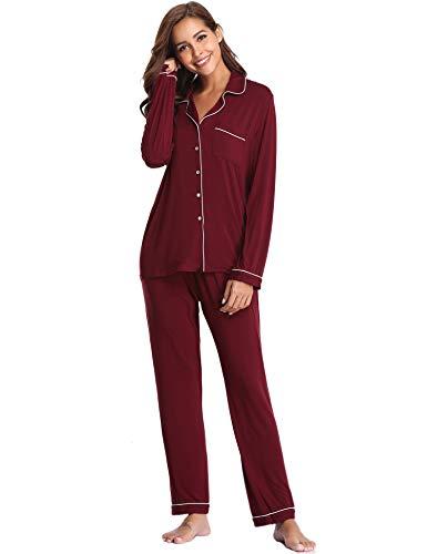 Lusofie Pajama Set Women Long Sleeve Sleepwear Soft Knit Loungewear Notch Collar Pjs