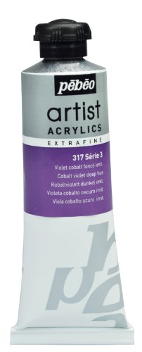 Deep Violet Acrylic - Pébéo Extra Fine Artist Acrylic Art Paint, Deep Cobalt Violet Imitation, 60ml