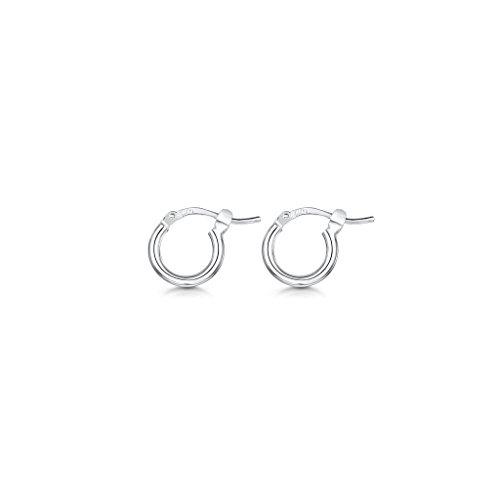 Amberta 925 Sterling Silver Fine Circle Hinged Hoops - Round Creole Sleeper Earrings Diameter Size: 7 10 15 20 25 35 45 55 mm