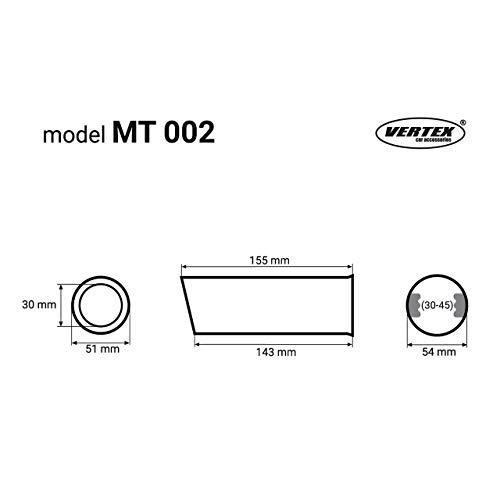 Tuning KMHMT002 Edelstahl Endrohr Auspuffblende rund//schr/äg zum anschrauben /Ø30-45mm Sport Optik Universal Exhaust Kmh