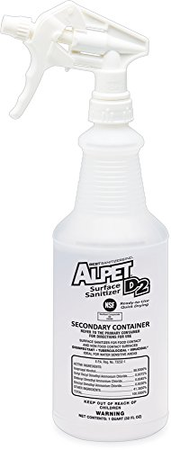 Best Sanitizers SS10004 Empty Secondary Container for Alpet D2 Surface Sanitizer, 1 Quart Bottle with Trigger Sprayer (Case of 12)