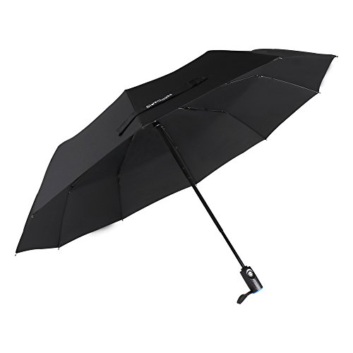 DIWENHOUSE Promotional Discount! Compact Travel Umbrella, Windproof Automatic Open/Close Rain Resistant Canopy Reinforced 10 Ribs Black Umbrellas for Men & Women (Items Umbrellas Promotional)
